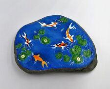 Koi Fish pond stone hand painted garden rock fairy garden Zen home decor