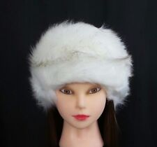 62d121e08f3e40 White Faux Fur Pillbox Hat Women's Russian Winter Soft Furry Cossack Snow  Ski
