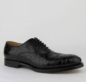 Neu Gucci Schwarz Krokodil Leder Oxford Schuhe W / Gucci Script 243813 1000