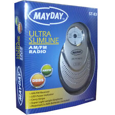Omega 02053 Ultra Slim Mayday Mini Radio Am/fm Con Auricular Y Led Indicador