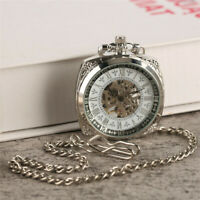 Sliver Mechanical Pocket Watch Square Open Face Hand-winding Pendant Chain Watch