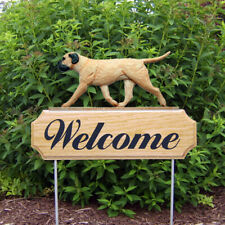 Bull Mastiff Wood Welcome Outdoor Sign Fawn