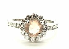 Sterling Silver 925 Round Peach Topaz CZ Halo Flower Cocktail Band Ring Sz 7