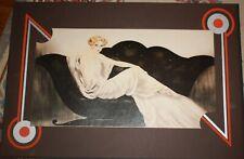 "Louis Icart The Sofa 1984 reprinting with fantastic Art Deco Matting 32"" x 22"""