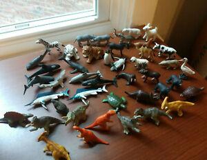 "Lot of small 1-2"" plastic & pvc animals, Dinosaurs, Swordfish, whales, Penguins"