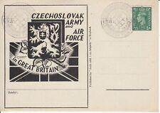 1942 WW2 Czech Exiled Forces in UK - STUDENT MASSACRE - handstamp on Illust. P/C