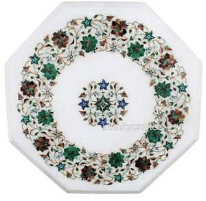 Marble Coffee Table Top Floral Pattern Inlaid Royal Look Patio Table 15 Inches