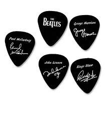 THE BEATLES full set of 5x Signature white printed plectrum guitar picks signed