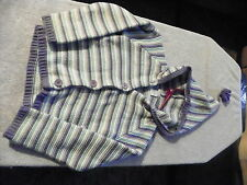 CARTER'S BUTTON DOWN HOODED SWEATER BLUE PURPLE WHITE GIRLS SIZE 6
