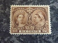 CANADA POSTAGE STAMP SG129 1897 SIX CENTS BROWN JUBILEE LIGHTLY-MOUNTED MINT