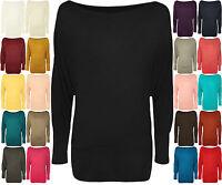 Womens Plain Batwing Long Sleeve Long Dress T-Shirt Stretch Shoulder Top 8-20
