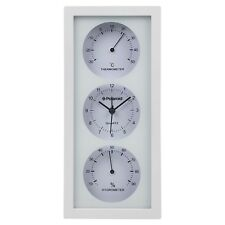 27cm Wall Clock With Hygrometer & Thermometer Dials Gauge Alarm Gift Quartz NEW