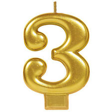 """3.25"""" Numeral #3 Metallic Gold 3rd Birthday Cake Decoration Molded Candle"""
