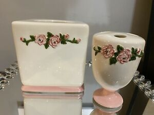 Waverly Garden pink Rose Ceramic Tissue Box Cover And Toothbrush Shabby Chic