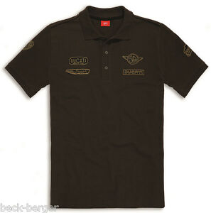 Ducati Historical 2 short Sleeve Retro Polo T-Shirt With on Approach Braun New