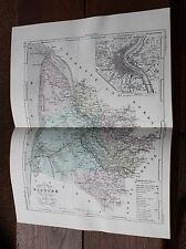 1850 Carte Géographique Atlas époque couleur Département 33 Gironde  Bordeaux