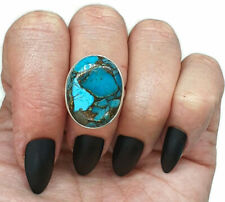 Copper Turquoise Ring, Size 7.5, Sterling Silver, Oval Shaped, Healing Gemstone
