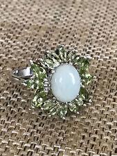 Sterling Silver Jade Peridot Flower Ring size 8