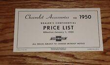 1950 Chevrolet Car & Truck Accessories Dealer Price List Brochure 50 Chevy