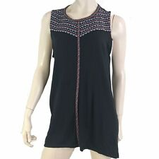 J Jill Top Women Size Large T Shirt Sleeveless Embroidered Black Tank Dipped Hem