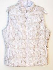 NWT $160 White House Black Market Packable Jacquard Puffer Vest & Pouch, Ecru, L