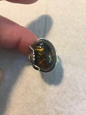 Vintage Sterling silver & genuine Amber ladies ring leaf accent Size 7 Poland