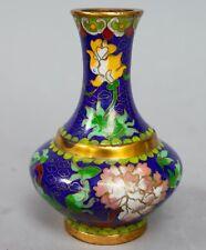 """Vtg Chinese Cloisonne Brass Enamel Mini Vase Flower Blossom Floral 4"""" tall"""