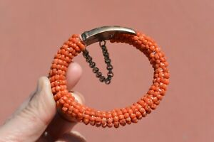 1930's Chinese Red Coral Seed Bead Carved Carving Bracelet Bangle NOT SILVER