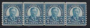 1924 U.S. Scott # 602 Five Cent Roosevelt Strip of 4 Stamps Mint Never Hinged