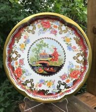 """Gondola Daher Decorated Ware Large Tray 20"""" Asian Pagoda Floral Gold Rim Round"""
