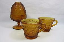 Tiara Indiana Amber Glass Candle Dome Fairy Lamp Votive Tealight  And 2 Cups