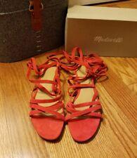 Madewell Women's Lace-Up Flat Gladiator Sandals Siberian Red Sz 9 NIB