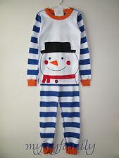 HANNA ANDERSSON Organic Long Johns Pajamas Snowman Stripe 140 10 NWT