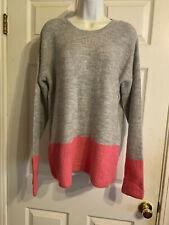 Joe Boxer Gray Pink Color Block Step Hem Sweater Juniors Size L
