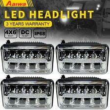 "4x6 "" inch For Kenworth Peterbilt LED Rectangular DRL Sealed Beam Headlight 4pcs"