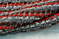 WOOL/CASHMERE BOUCLE LUXURY KNIT MULTI COLOUR RED-GREY-TAN MADE IN ITALY D235