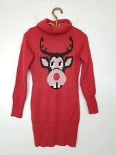Tipsy Elves Rudolph Turtleneck Ugly Holiday Christmas Sweater Red Womens Size XS