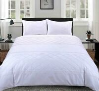 LUXURY WHITE BELMOUNT PINTUCK DUVET COVER SET 100% EGYPTIAN COTTON BEDDING SETS