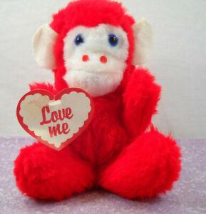 Vintage Plush Toy Rushton Company Red Love Me B.B. Monkey