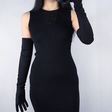 """Suede Long Gloves Faux Leather 24"""" 60cm Opera Evening Black Double-faced Suede"""