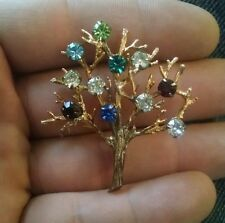 Vintage DCE Sterling Silver Tree Brooch Fruit Salad Rhinestone Tree of Life