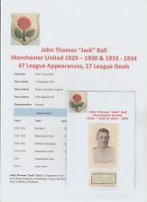 JACK BALL MANCHESTER UNITED 1929-30 & 1933-34 RARE ORIG HAND SIGNED CUTTING/CARD