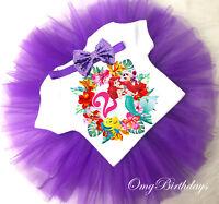 Little Mermaid  2nd Second Birthday Cupcake Shirt Tutu Bow Headband Outfit Set