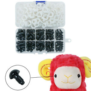 100Pcs 6-12mm Black Plastic Toy Eyes Safety for Animal Dolls DIY Puppet Craft