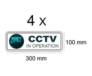 4 x CCTV in operation Vinyl Stickers, Security, Camera,Warning , Decal,