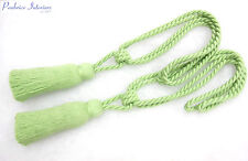 2 Apple green curtain tassel rope tie backs - Single tasselled fabric tiebacks