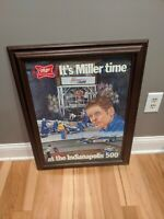 Vintage Miller High Life Beer Sign 1981 Indy 500 Bobby Unser Ron Burton