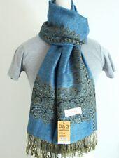 DG Women's Pashmina Scarf Shawl,Paisley,Black Blue Silk.Cashmere.Soft