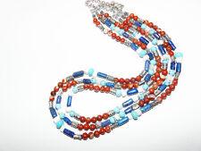 Collier 3 rangs jaspe rouge turquoise lapis et nacre style indien Navajo UNIQUE