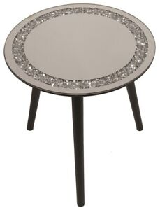 40cm Round Glass Coffee Table Side Table Crushed Mirrored Glass Table